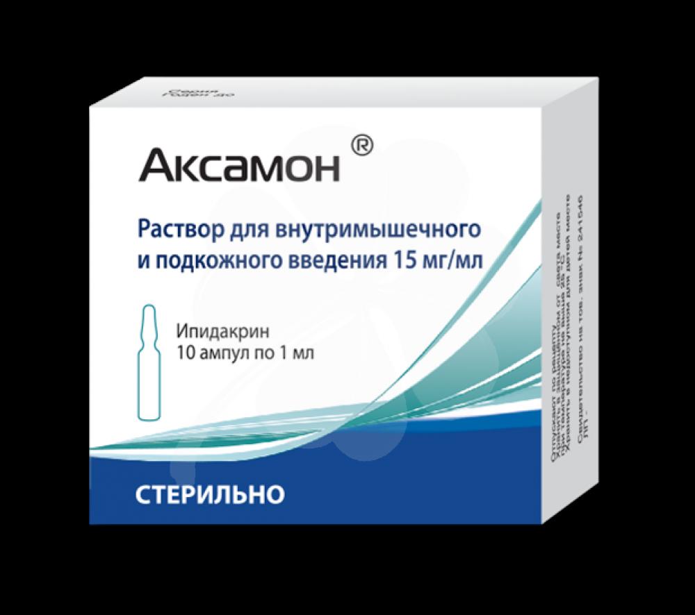 Фото препарата Аксамон раствор для инъекций 15мг/мл 1мл