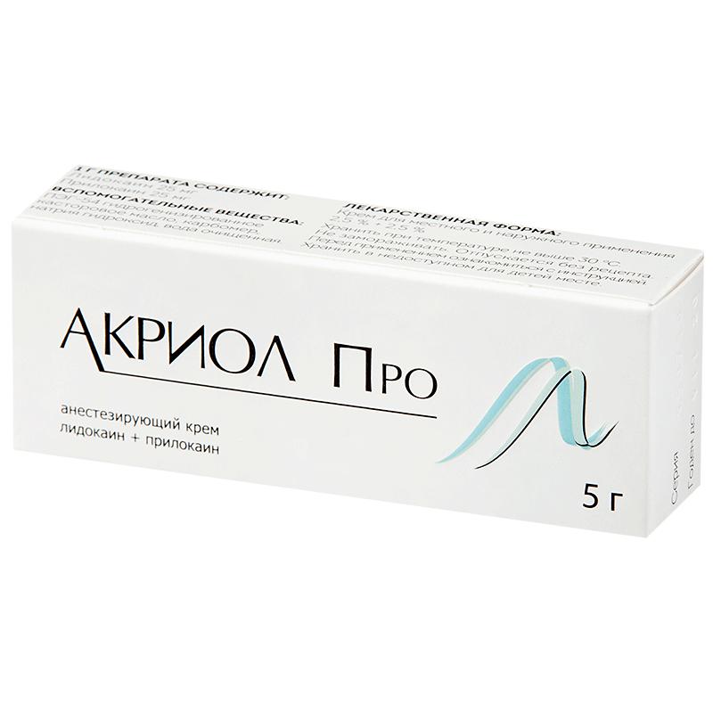 Фото препарата Акриол Про крем 2,5%+2,5% 5г