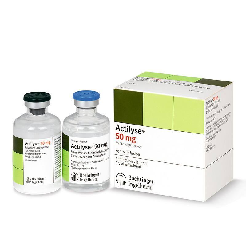 Фото препарата Актилизе лиофилизат для приготовления раствора для инфузий 50 мг флакон в комплекте с растворителем