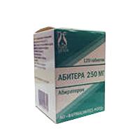 Фото препарата Абитера таблетки 250 мг банка