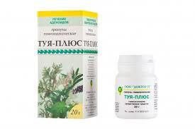 Фото препарата Туя-плюс гранулы гомеопатические фл 20г