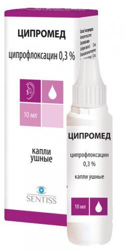 Фото препарата Ципромед капли ушные 0.3% флакон 10 мл