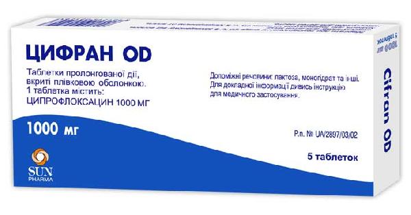 Фото препарата Цифран ОД таблетки пролонгированного действия покрытые пленочной оболочкой 1000 мг блистер