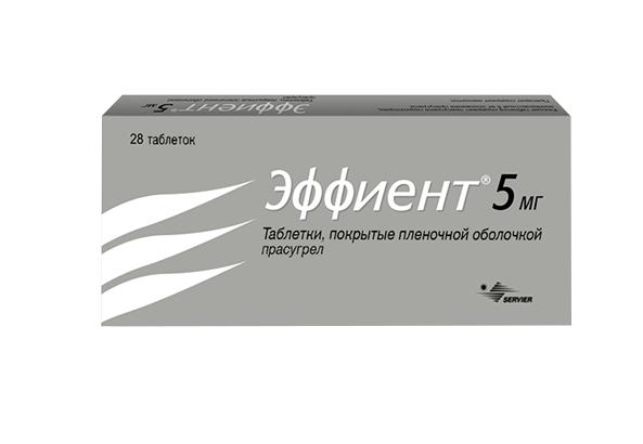Фото препарата Эффиент таблетки покрытые пленочной оболочкой 5 мг блистер
