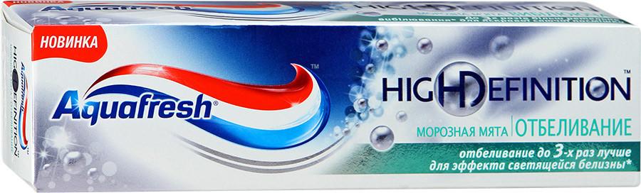 """Фото препарата Зубная паста """"Aquafresh"""" Хай Дефинишн Уайт Морозная Мята 75мл"""