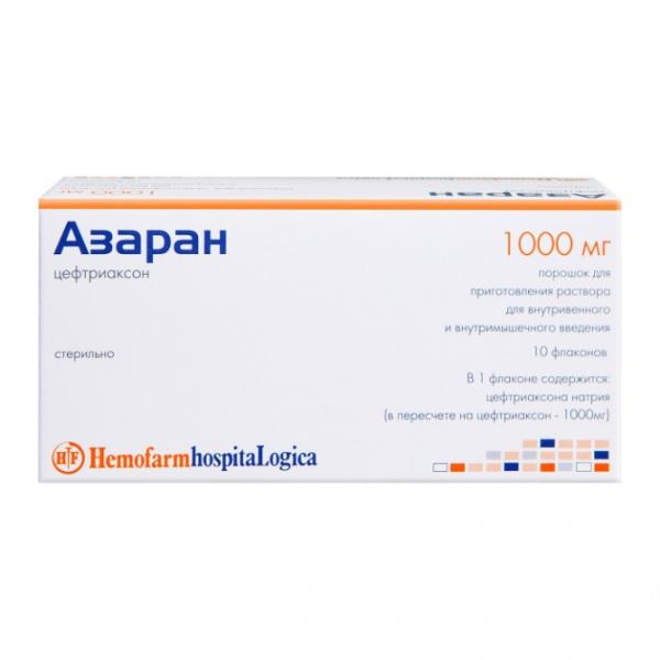 Фото препарата Азаран порошок для приготовления р-ра для внутривенного и внутримышечного введения 1 г флакон