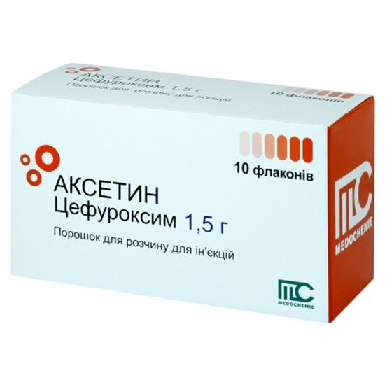 Фото препарата Аксетин порошок для приготовления раствора для внутривенного и внутримышечного введен флакон 1.5 г
