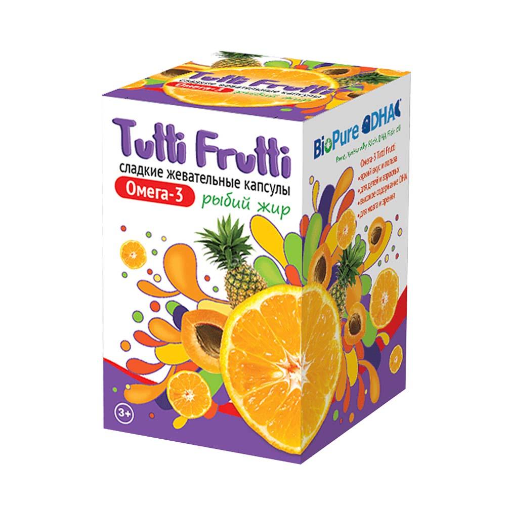 Фото препарата Tutti Frutti Омега 3 сладкие жевательные капсулы по 500мг
