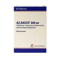 Фото препарата Асакол таблетки покрытые кишечнорастворимой оболочкой 800 мг блистер