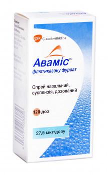 Фото препарата Авамис спрей назальный дозированный 27.5мкг/доза 120дз флакон темного стекла с дозирующим устройством