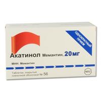 Фото препарата Акатинол Мемантин таблетки покрытые пленочной оболочкой 20 мг блистер