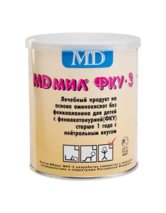 Фото препарата MD мил ФКУ-3 продукт диетического (лечебного) питания для детей старше года, больных фенилкетонурией 400г