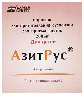 Фото препарата АзитРус порошок для приготовления суспензии для приема внутрь 200 мг пакетик 4.2 г
