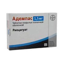 Фото препарата Адемпас таблетки покрытые пленочной оболочкой 1.5 мг блистер